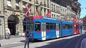 BERN, SWITZERLAND - JULY 06, 2017: Colorful trams at Kramgasse in Bern, Switzerland. Kramgasse is part of the World stock video footage