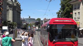 BERN, SWITZERLAND - JULY 06, 2017: Traffic in Bern, Switzerland. Kramgasse is part of the World Cultural Heritage of stock video