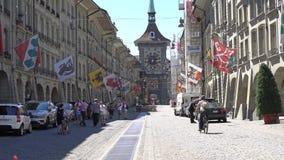 BERN, SWITZERLAND - JULY 06, 2017: View of The Kramgasse in Bern, Switzerland. Kramgasse is part of the World Cultural stock footage