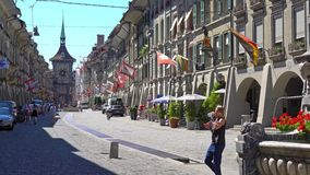 BERN, SWITZERLAND - JULY 06, 2017: View of The Kramgasse in Bern, Switzerland. Kramgasse is part of the World Cultural stock video