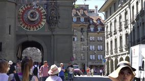 BERN, SWITZERLAND - JULY 06, 2017: The Zytglogge. Famous medieval tower with XV century astronomical clock at The stock video footage