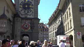 BERN, SWITZERLAND - JULY 06, 2017: The Zytglogge. Famous medieval tower with XV century astronomical clock at The stock footage