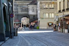 Street view in the old town of Bern stock image