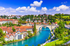 Bern, Switzerland. View of the old city center and Nydeggbrucke bridge over river Aare Stock Photos