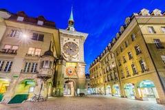 Bern, Switzerland. Zytglogge clock tower on Kramgasse street in the old city stock photo