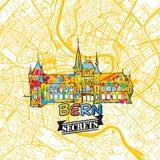 Bern Travel Secrets Art Map Fotografía de archivo