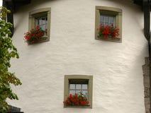 Bern, Zwitserland 08/02/2009 Huis met cirkelfaade en wind stock foto