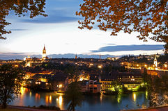 Berna, Switzerland no crepúsculo Foto de Stock Royalty Free