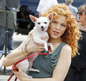 "Bernadette Peters and Canine Pal. Bernadette Peters and her canine side-kick are publicizing ""Broadway Barks!"" an organization dedicated to the welfare of Royalty Free Stock Image"