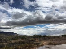 Bernalillo Sky's. The Bosque in Bernalillo New Mexico. What a beautiful cloudy day Stock Image