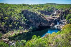 Bernang Lookout at Edith Falls, Katherine, Australia. View from Bernang Lookout of the second upper waterfall and pool at Edith Falls on Leilyn Trail along Stock Photography
