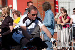 Bernard Hinault. SAMATAN, FRANCE- JULY 16: The famous cyclist Bernard Hinault being filmed for the film  La Grande Boucle at the departure of the 15th stage of Royalty Free Stock Images