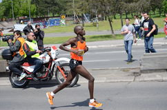 Bernard Kipkorir Talam   runs on April 27, 2014 in Belgrade marathon.   Bernard Kipkorir Talam wins a Royalty Free Stock Photo