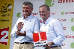 Bernard Thevenet and Bernard Hinault Tour de France 2015 Stock Photo
