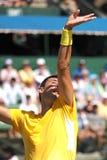 Bernard Tomic portion på Davis Cup singlar mot John Isner Royaltyfri Foto