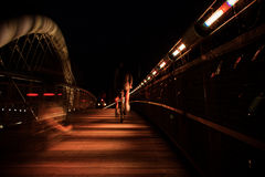 Bernatka bridge over Vistula river in night in city of Krakow Royalty Free Stock Photography
