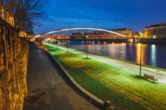 Bernatka footbridge over Vistula river in the night Royalty Free Stock Photo