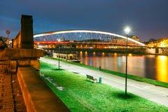 Bernatka footbridge over Vistula river in the night Stock Image