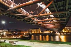 Bernatka footbridge over Vistula river in the night in Krakow Stock Photography