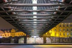 Bernatka footbridge over Vistula river in the night in Krakow Royalty Free Stock Photos