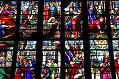Bernay Frankrike - august 11 2016: Sainte Croix kyrka arkivbild