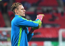 Bernd Leno. Football players pictured prior to the UEFA Champions League Group E game between Tottenham Hotspur and Bayer Leverkusen on November 2, 2016 at Royalty Free Stock Photography