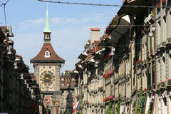 Berne. Street in Bern, Switzerland. Capital city, old town Royalty Free Stock Image