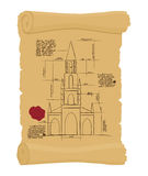 Berne Cathedral on old paper Scheme. Ancient scroll.  scheme of Royalty Free Stock Photography