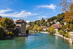 Berne gammal stad och den Aare floden Royaltyfri Fotografi