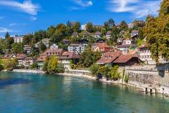 Berne gammal stad och den Aare floden Royaltyfria Foton