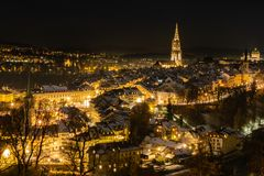 Berne by night, Switzerland Europe royalty free stock photo