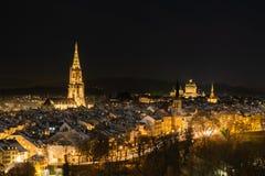 Berne 's nachts, Zwitserland Europa royalty-vrije stock foto's