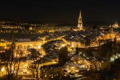Berne vid natt, Schweiz Europa royaltyfri foto