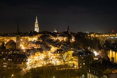 Berne vid natt, Schweiz Europa arkivbild
