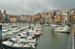 Berneo Port With Its Fishing and Sports Boats In Mooring By Huracan Hugo. Navigation Travel Nature. March 24, 2018. Bermeo. Biscay. Basque Country. Spain royalty free stock images