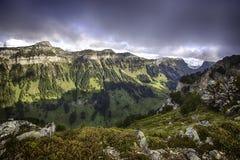 Bernese Альпы от вершины Niederhorn в лете, кантоне Bern, Швейцарии, обоев Стоковое Фото