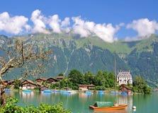bernese brienz iseltwald湖oberland 图库摄影