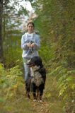 Bernese Mountain Dog and girl teenage girl. Walking in the park Stock Photography