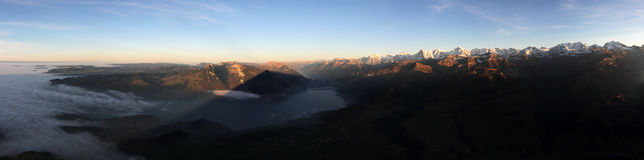 Shadow of Mount Niesen. Bernese Oberland with sea of fog and the shadow of Mount Niesen, Switzerland royalty free stock photo