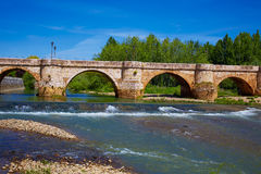 Bernesga river bridge in Leon Way of Saint James Stock Image
