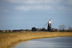 Berney Arms. Drainage mill on the Norfolk Broads, England Stock Photos