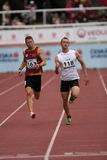 Bernhard Chudarek and Lukas Stastny - 200 m run. Bernhard Chudarek from Austria and Lukas Stastny from Czech Republic during the 200 metres run within the 18th Royalty Free Stock Photo