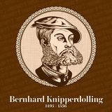 Bernhard Knipperdolling 1495-1536 was a Reverend and German leader of the Munster Anabaptists.  stock illustration