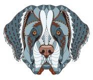 Bernhardiner-Hund-zentangle stilisierte Haupt-, freihändigen Bleistift, Hand Stockfotos