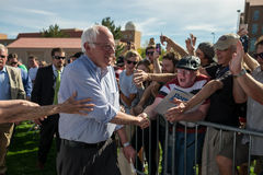 Bernie meets Waldo. Bernie Sanders shaking hands with supporters in Boulder, Colorado Stock Photos