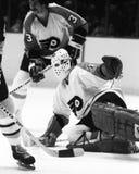 Bernie Parent. Philadelphia Flyers goalie Bernie Parent. (Image taken from a b&w negative Royalty Free Stock Image