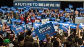 Bernie Sanders-Anhänger in Illinois Stockbild