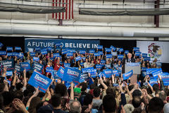 Bernie Sanders rally in Illinois. Bernie Sanders speaks in front of his supporters during A Future to Believe In Rally on March 11th, 2016 at Argo Community High stock images