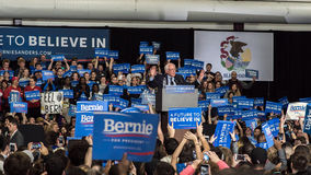 Bernie Sanders rally in Illinois. Bernie Sanders speaks in front of his supporters during A Future to Believe In Rally on March 11th, 2016 at Argo Community High royalty free stock photography