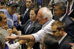 Bernie Sanders Shakes Hands at Presidential Rally, Modesto, CA. MODESTO, CA- JUNE 02, 2016: Presidential candidate, Bernie Sanders greets people after speaking Stock Image